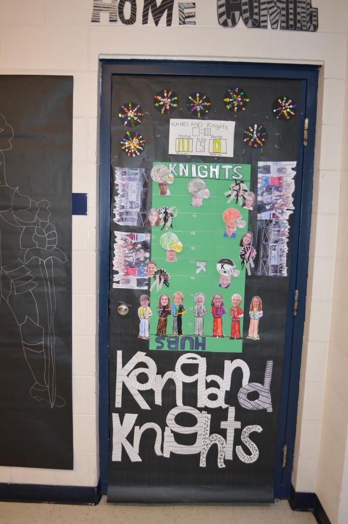 the choir door is decorated with a medieval theme teachers show their