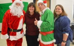 Santa Green and Elf Auchstetter visit the cafeteria