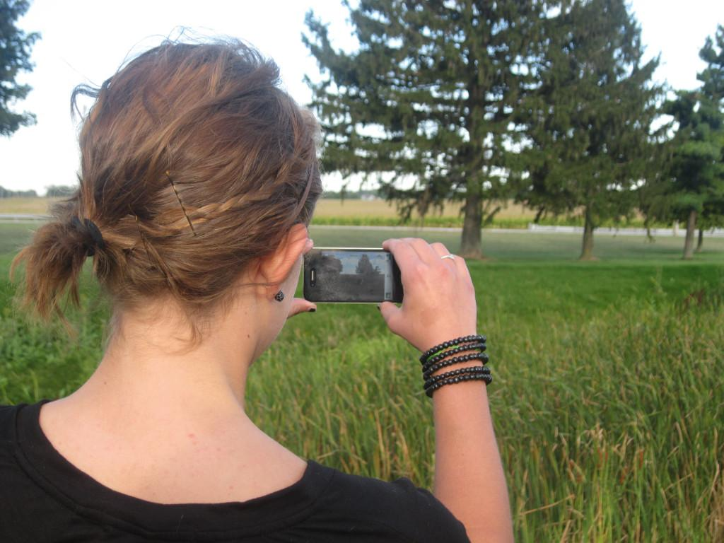 Sophomore Hayley Contorno is more careful about cell phone radiation ever since her aunt developed cancer. Photo by Lanie Callaghan.