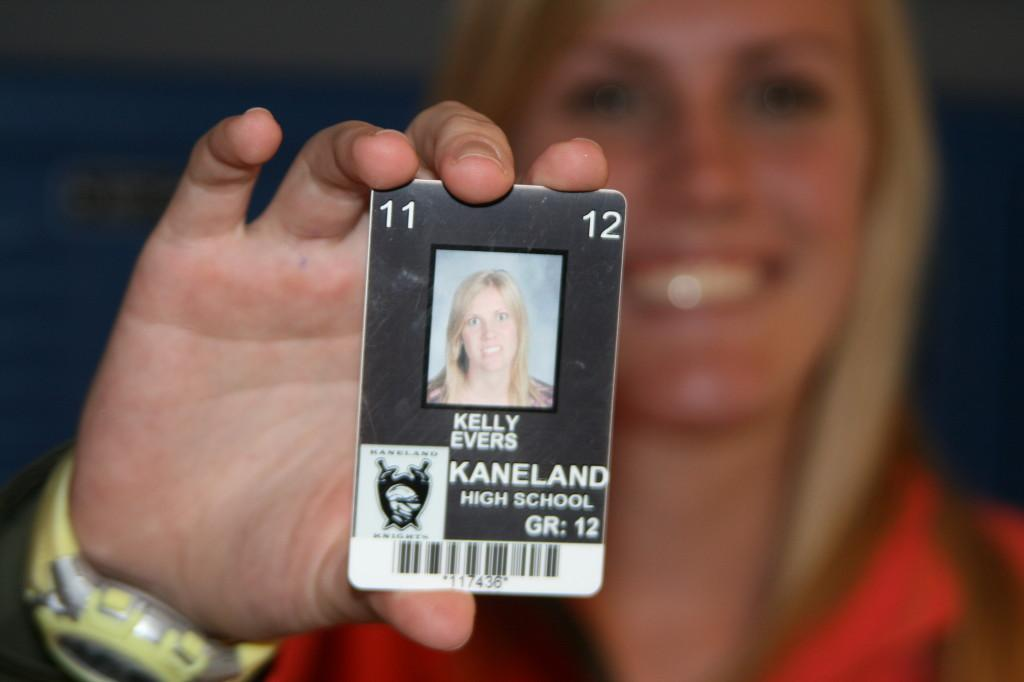Senior Kelly Evers is one of the few seniors who got away with a goofy ID photo this year. Evers crossed her eyes just before the photographer snapped the picture. Photo by Marshall Farthing.