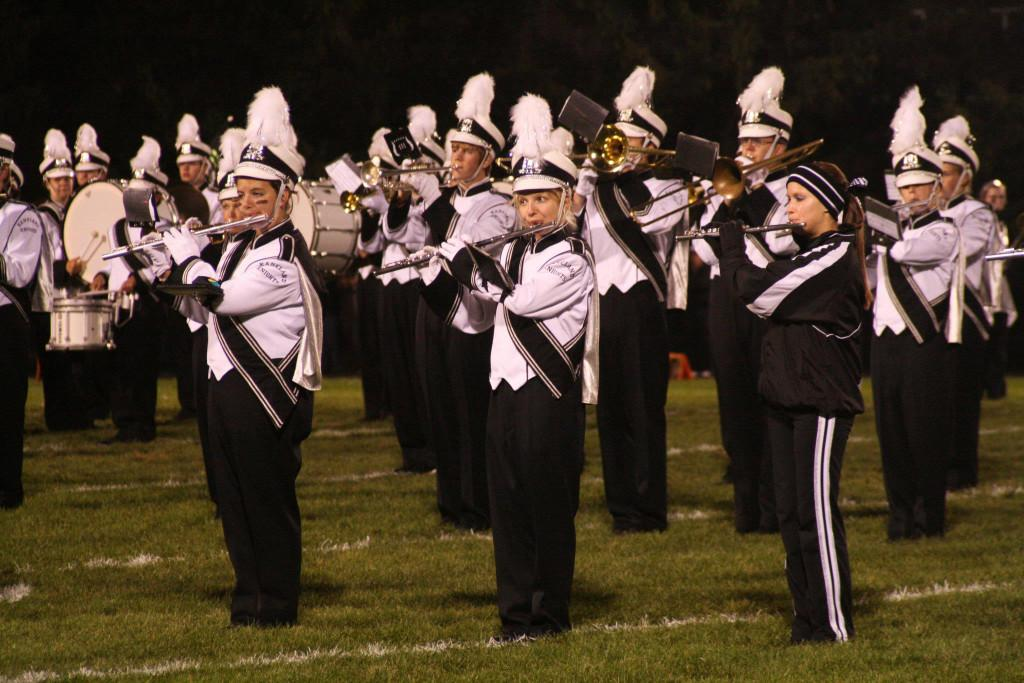 The marching band performs during half-time at the Homecoming game on Sept. 24.