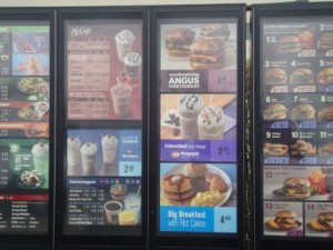 Fast food menus, like those at McDonald's, will soon have to display calorie information. Photo by Jessica Corbett.