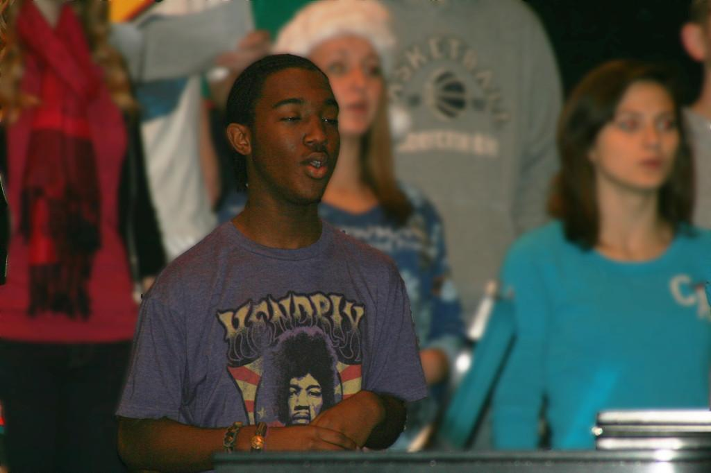 JayVon Malik warms up his voice in Bryan Kuntsman's Choir class.  He practices the piano on his free time at home.
