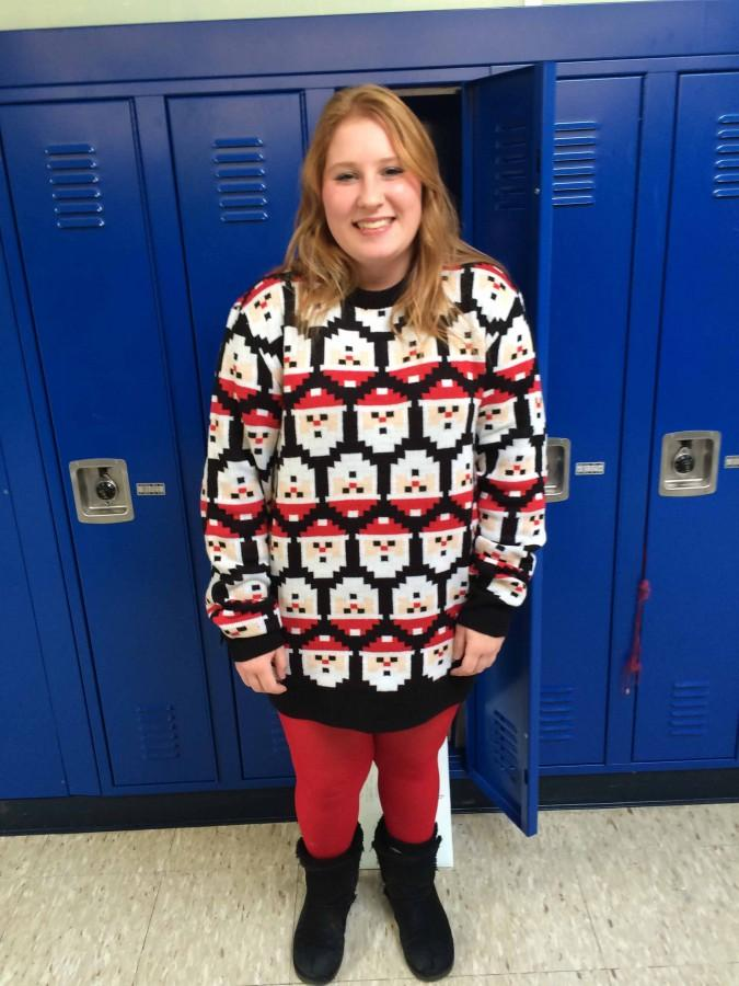 Junior Kayley Bilotta puts the ho ho ho in holidays with her ugly Christmas sweater.