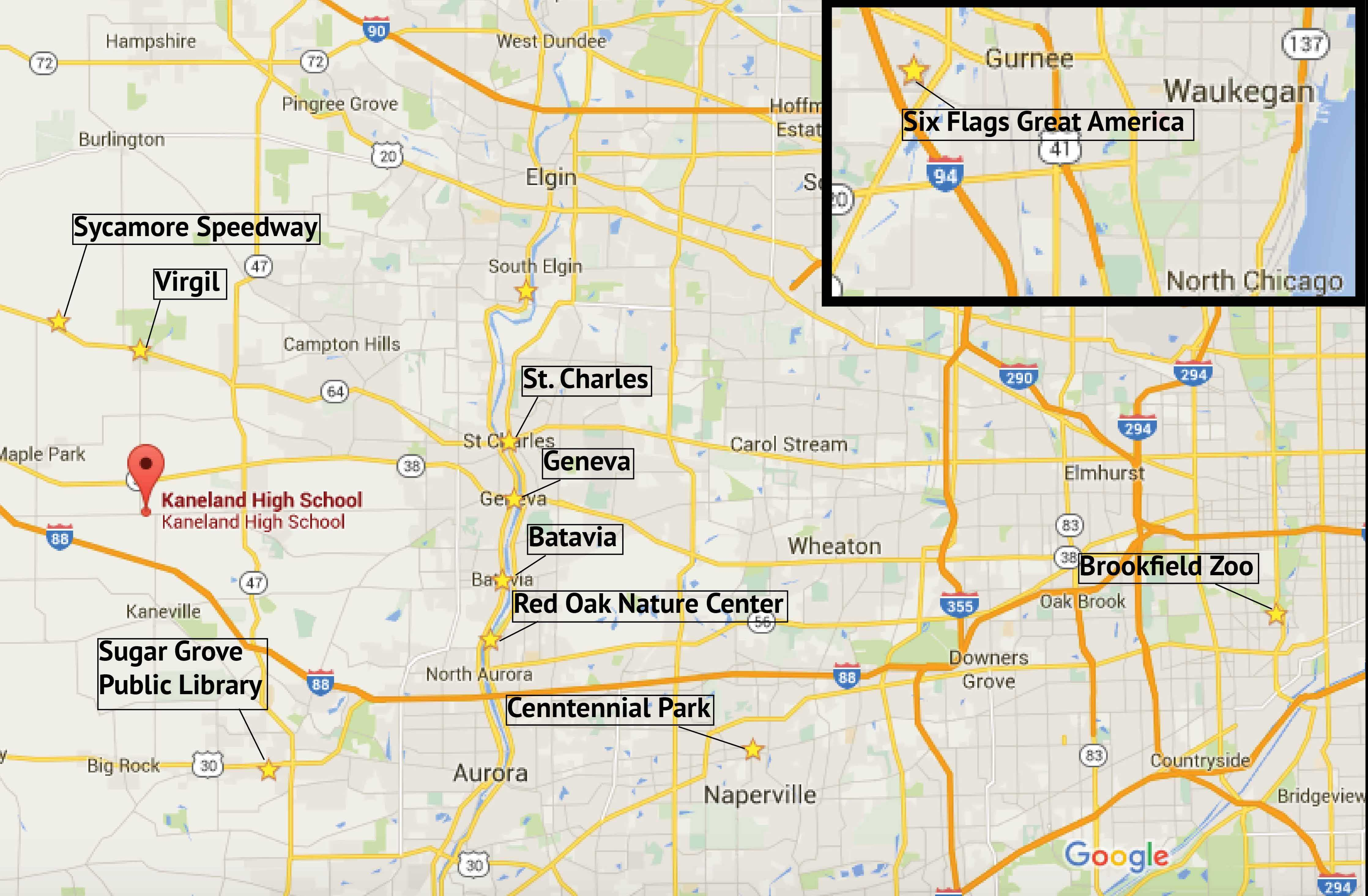 Local places to go this summer in relation to Kaneland High School.