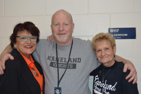 From left to right: Diane McFarlin, Kurt Green and Linda Wilson are all smiles in preparation to walk the falls of KHS one final time.