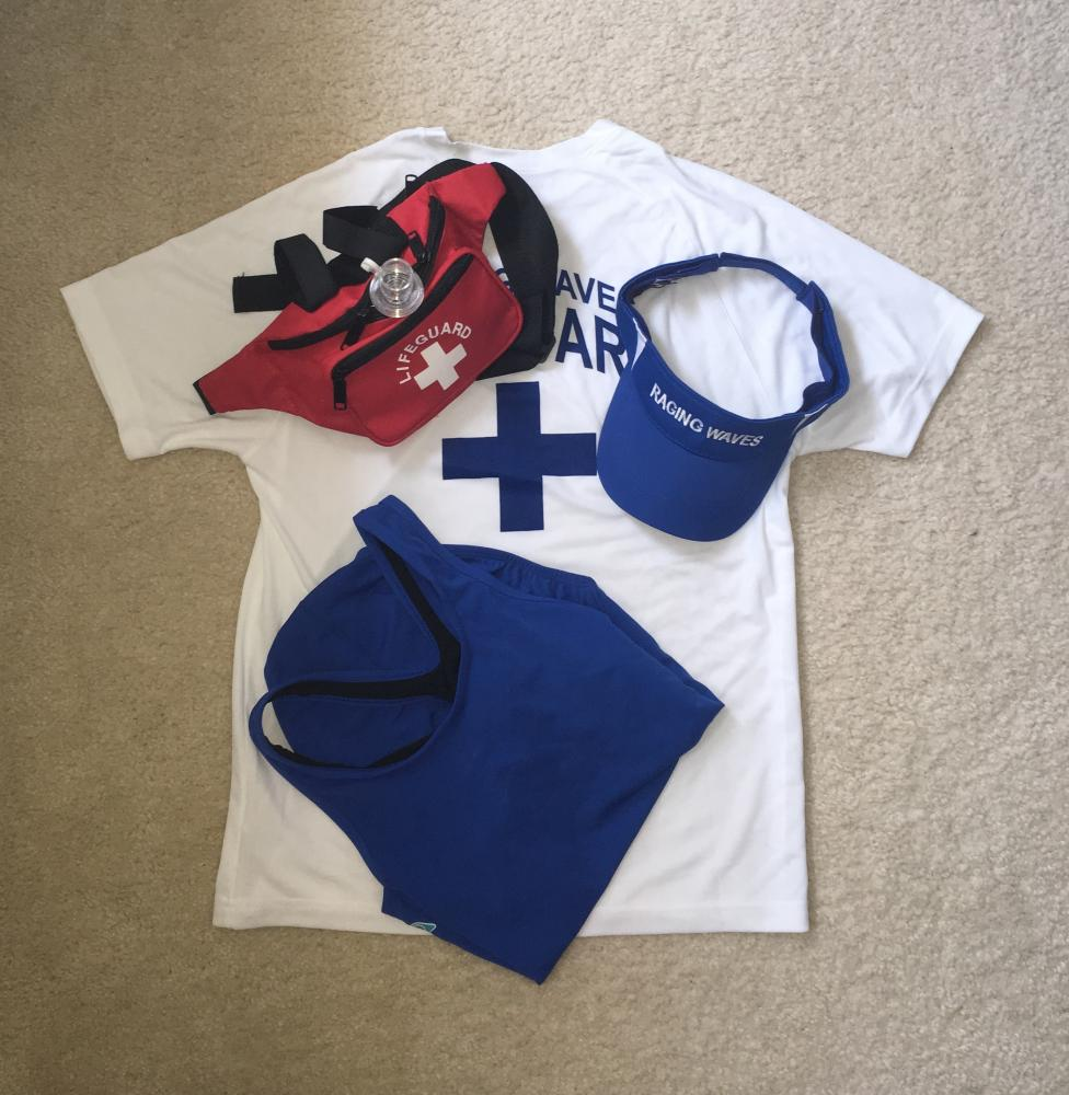 No matter what part of the pool lifeguards work at, they wear a swimsuit and a fanny pack to hold necessities along with a rash guard shirt and visor. Without this uniform, lifeguards wouldn't be able to perform their job as well.