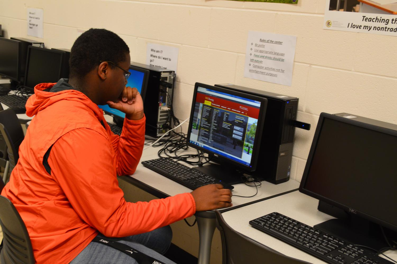 Senior Brandon Penman works in the College Career Center to help figure out his path in the future.
