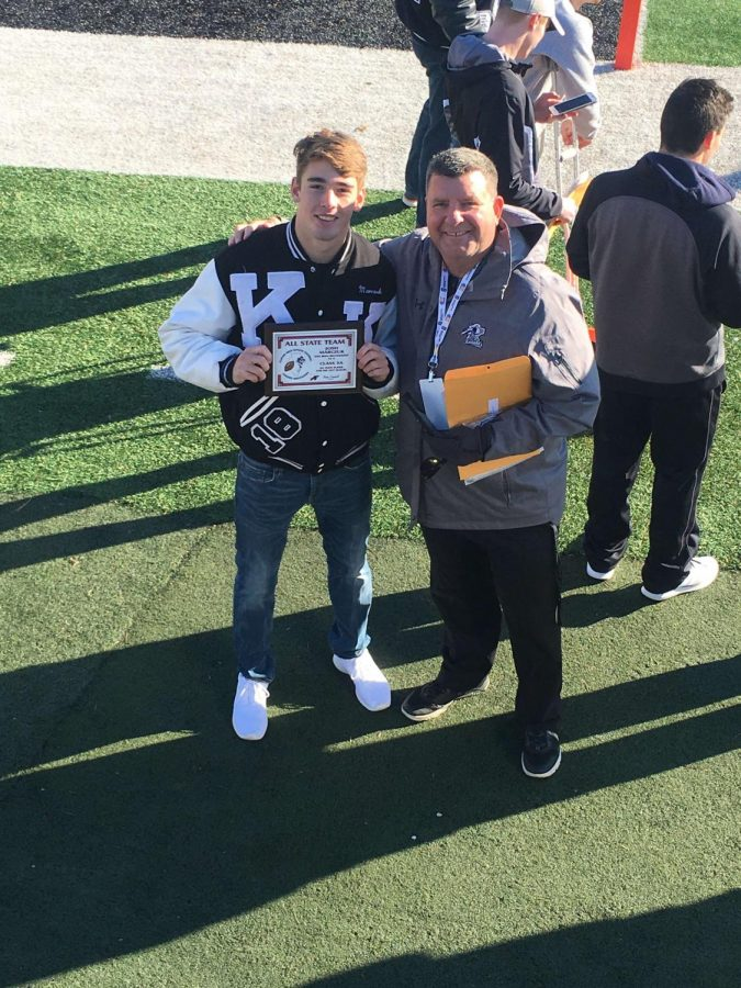 Josh Marczuk poses with KHS athletic director Peter Goff after receiving his award. Photo courtesy of Sharon Marczuk.