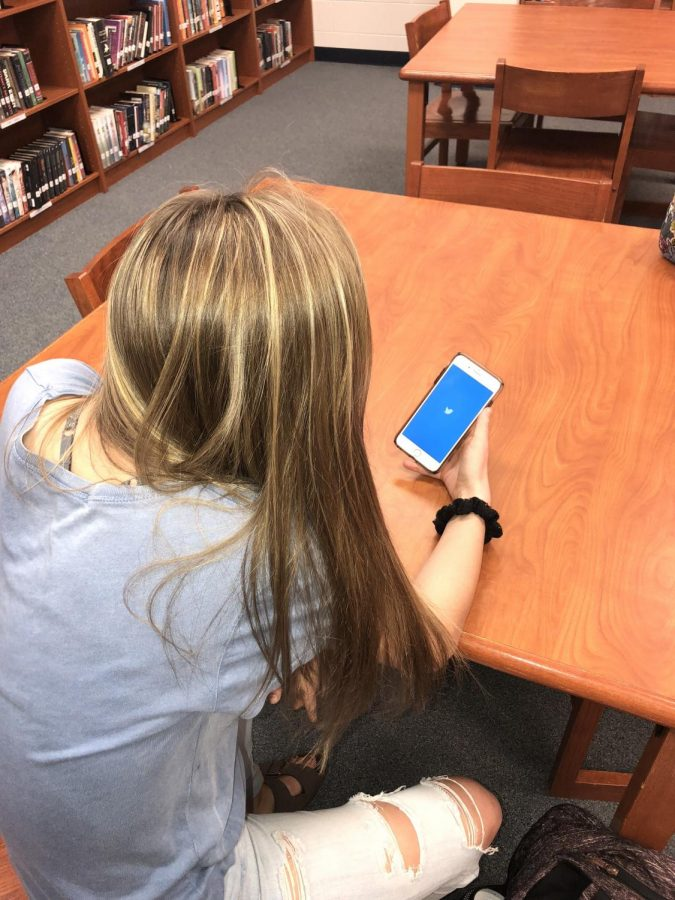 Twitter is often used during study hall in the  KHS library.