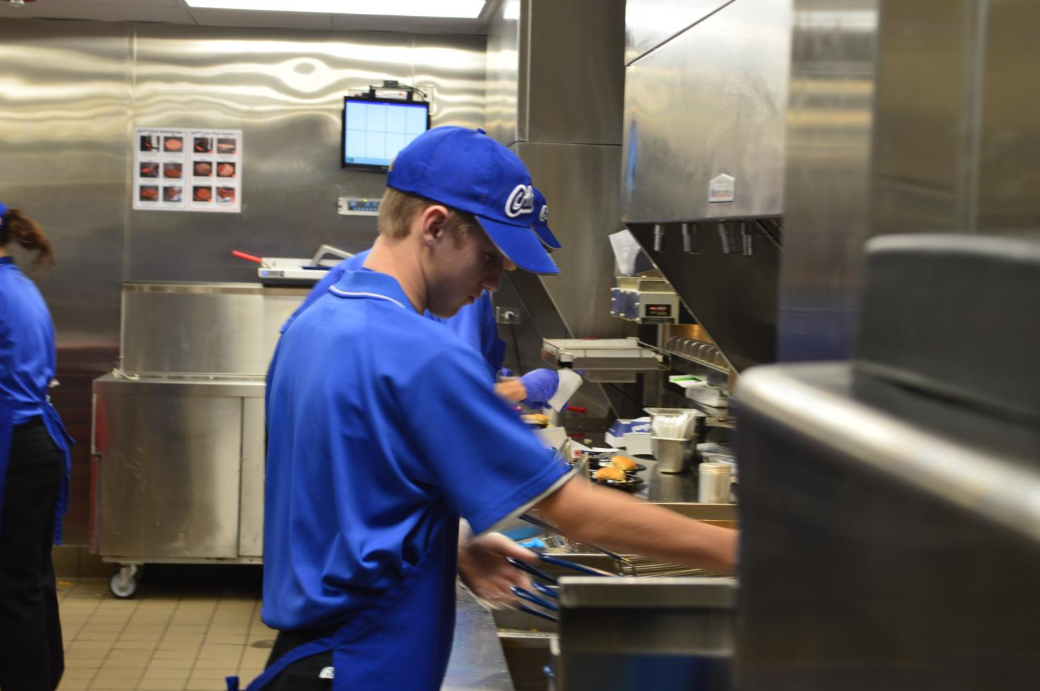Senior Matt Gerlach works the fryer at the Route 47 Culver's.
