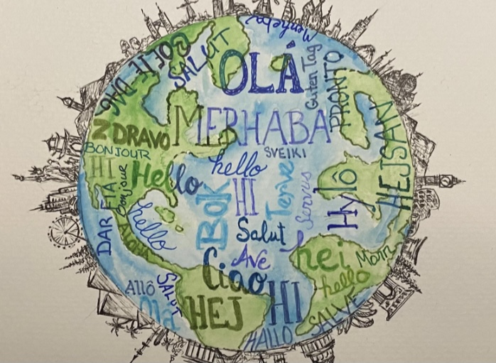 This artwork depicts a variety of languages and landmarks from around the world. Learning a second language is an integral part of exploring the many cultures of the world we live in.