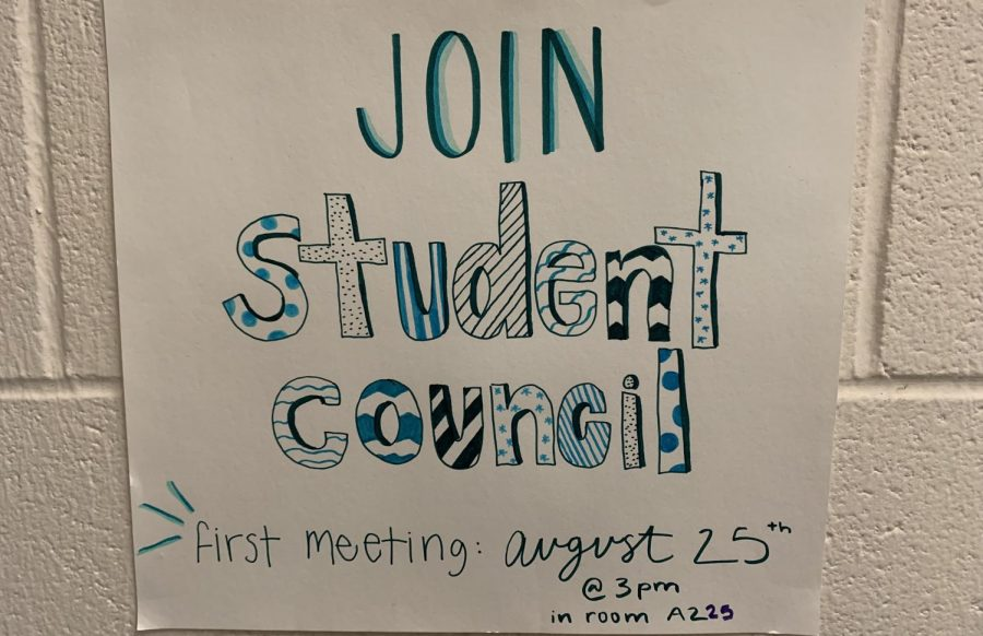 Many Student Council posters are hanging around the school. Student Council members will continue to meet every Wednesday from 3:00 to 3:30 or 4:00 p.m. until Homecoming, and then they will meet every other week.